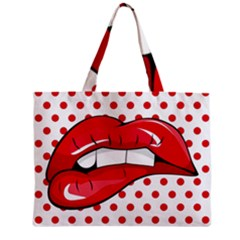 Sexy Lips Red Polka Dot Zipper Mini Tote Bag