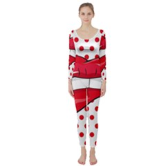 Sexy Lips Red Polka Dot Long Sleeve Catsuit