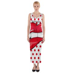 Sexy Lips Red Polka Dot Fitted Maxi Dress