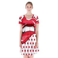 Sexy Lips Red Polka Dot Short Sleeve V Neck Flare Dress
