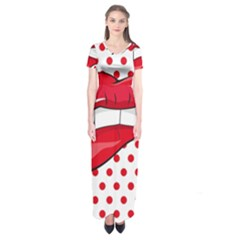 Sexy Lips Red Polka Dot Short Sleeve Maxi Dress