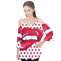Sexy Lips Red Polka Dot Flutter Tees