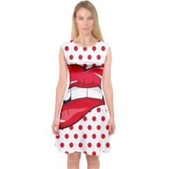Sexy Lips Red Polka Dot Capsleeve Midi Dress