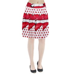 Sexy Lips Red Polka Dot Pleated Skirt