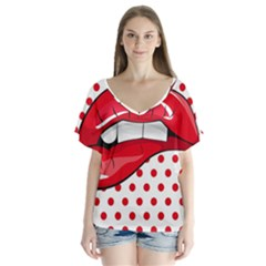 Sexy Lips Red Polka Dot Flutter Sleeve Top