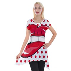 Sexy Lips Red Polka Dot Short Sleeve Side Drop Tunic by Mariart