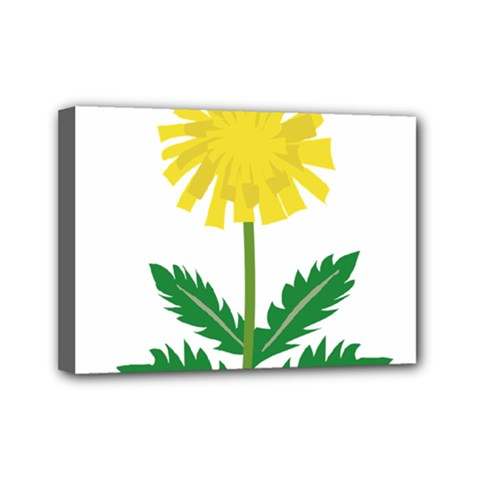Sunflower Floral Flower Yellow Green Mini Canvas 7  X 5