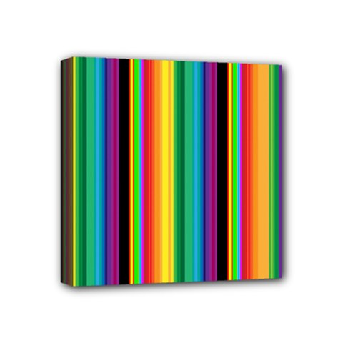 Multi Colored Colorful Bright Stripes Wallpaper Pattern Background Mini Canvas 4  X 4  by Nexatart