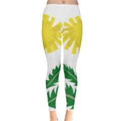 Sunflower Floral Flower Yellow Green Leggings