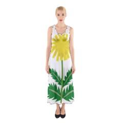 Sunflower Floral Flower Yellow Green Sleeveless Maxi Dress