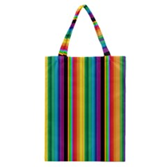 Multi Colored Colorful Bright Stripes Wallpaper Pattern Background Classic Tote Bag by Nexatart