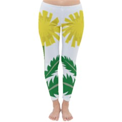 Sunflower Floral Flower Yellow Green Classic Winter Leggings by Mariart