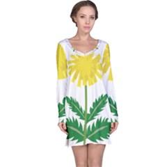 Sunflower Floral Flower Yellow Green Long Sleeve Nightdress