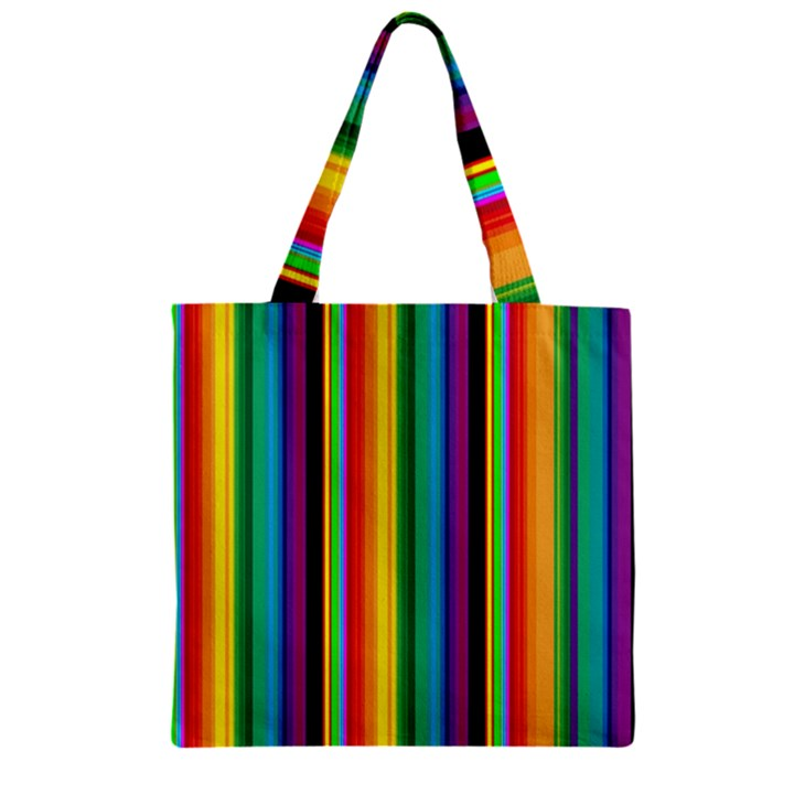 Multi Colored Colorful Bright Stripes Wallpaper Pattern Background Zipper Grocery Tote Bag
