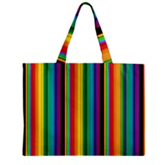 Multi Colored Colorful Bright Stripes Wallpaper Pattern Background Zipper Mini Tote Bag by Nexatart