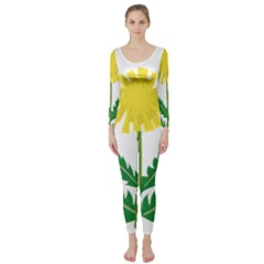 Sunflower Floral Flower Yellow Green Long Sleeve Catsuit