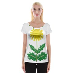 Sunflower Floral Flower Yellow Green Women s Cap Sleeve Top
