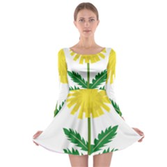 Sunflower Floral Flower Yellow Green Long Sleeve Skater Dress