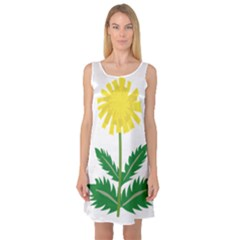 Sunflower Floral Flower Yellow Green Sleeveless Satin Nightdress