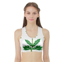 Sunflower Floral Flower Yellow Green Sports Bra With Border