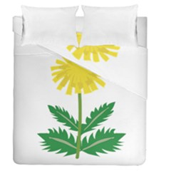 Sunflower Floral Flower Yellow Green Duvet Cover Double Side (queen Size)