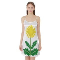Sunflower Floral Flower Yellow Green Satin Night Slip
