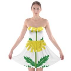Sunflower Floral Flower Yellow Green Strapless Bra Top Dress