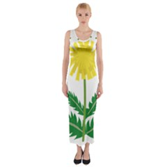 Sunflower Floral Flower Yellow Green Fitted Maxi Dress