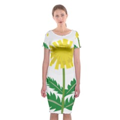 Sunflower Floral Flower Yellow Green Classic Short Sleeve Midi Dress
