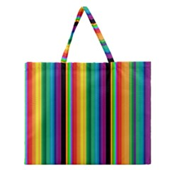 Multi Colored Colorful Bright Stripes Wallpaper Pattern Background Zipper Large Tote Bag by Nexatart