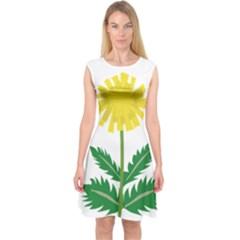 Sunflower Floral Flower Yellow Green Capsleeve Midi Dress