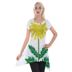 Sunflower Floral Flower Yellow Green Short Sleeve Side Drop Tunic