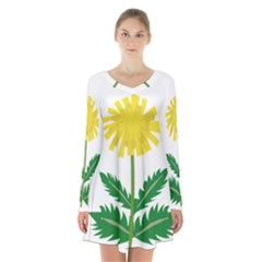 Sunflower Floral Flower Yellow Green Long Sleeve Velvet V Neck Dress