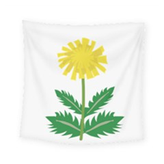Sunflower Floral Flower Yellow Green Square Tapestry (small)