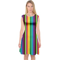 Multi Colored Colorful Bright Stripes Wallpaper Pattern Background Capsleeve Midi Dress by Nexatart
