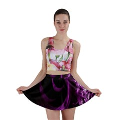 Purple Flower Floral Mini Skirt