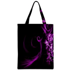 Purple Flower Floral Zipper Classic Tote Bag