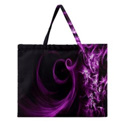 Purple Flower Floral Zipper Large Tote Bag by Mariart
