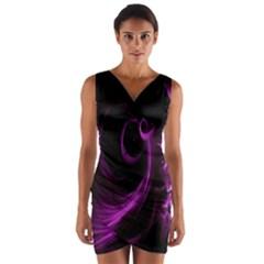 Purple Flower Floral Wrap Front Bodycon Dress