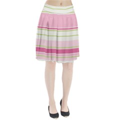 Turquoise Blue Damask Line Green Pink Red White Pleated Skirt by Mariart