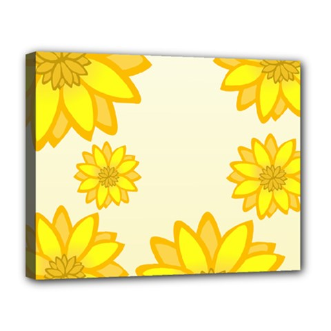 Sunflowers Flower Floral Yellow Canvas 14  X 11  by Mariart