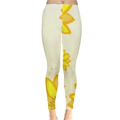 Sunflowers Flower Floral Yellow Leggings  by Mariart
