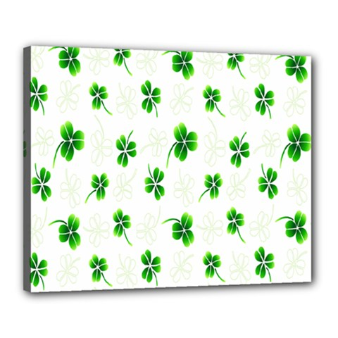 Leaf Green White Canvas 20  X 16  by Mariart