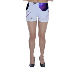 Space Transparent Purple Moon Star Skinny Shorts by Mariart