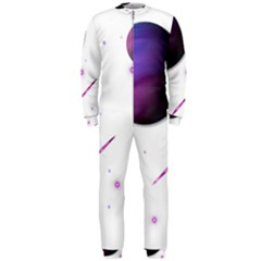 Space Transparent Purple Moon Star Onepiece Jumpsuit (men)