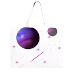 Space Transparent Purple Moon Star Zipper Large Tote Bag by Mariart