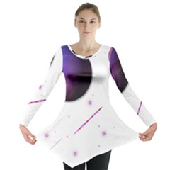 Space Transparent Purple Moon Star Long Sleeve Tunic  by Mariart