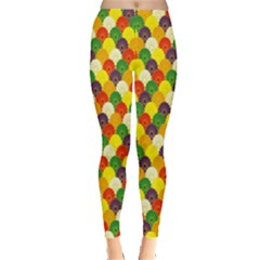 Flower Floral Sunflower Color Rainbow Yellow Purple Red Green Leggings  by Mariart