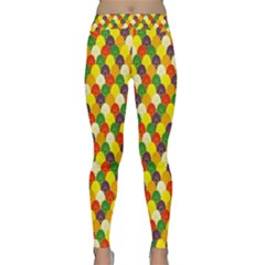 Flower Floral Sunflower Color Rainbow Yellow Purple Red Green Classic Yoga Leggings by Mariart