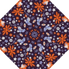 Bright Colorful Busy Large Retro Floral Flowers Pattern Wallpaper Background Folding Umbrellas by Nexatart